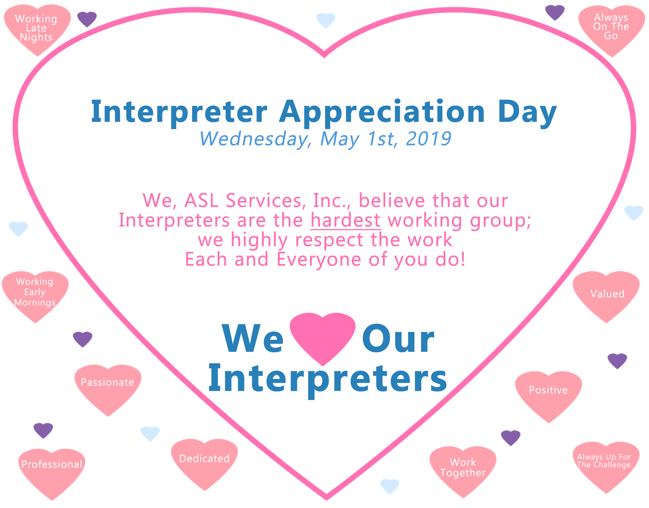 Interpeter appreciation day - we heart our interpreters image